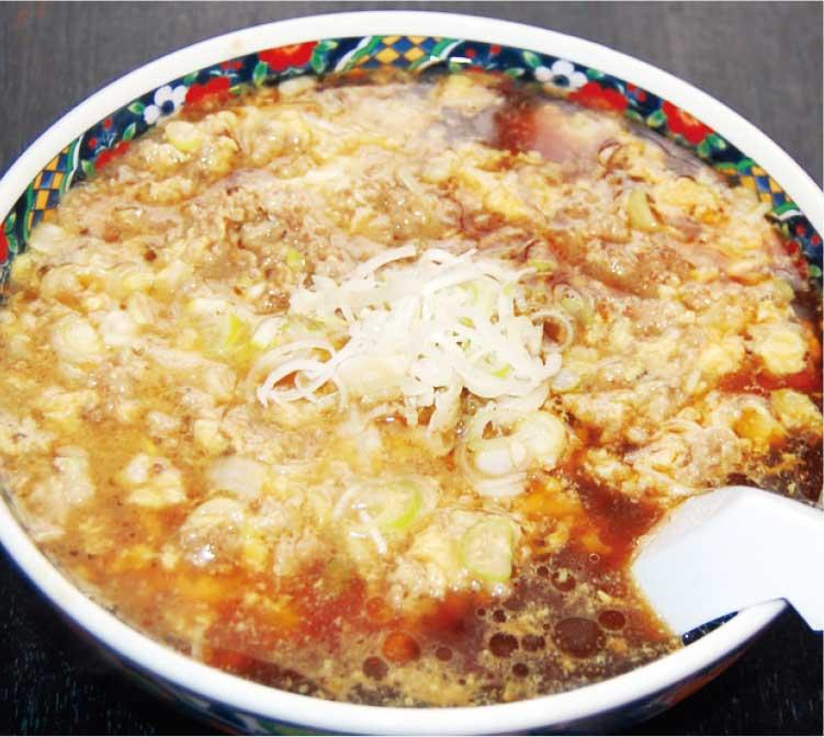 中国料理廣河の豚ひき肉とネギの玉子とじ麺