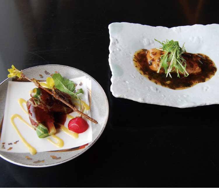 四季海鮮旬花の桜ますの煮付けと函館和牛と厚沢部産アスパラの八幡巻き