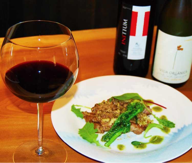 手打ち蕎麦きたわせの豚のロースのマスタード焼きと赤ワイン