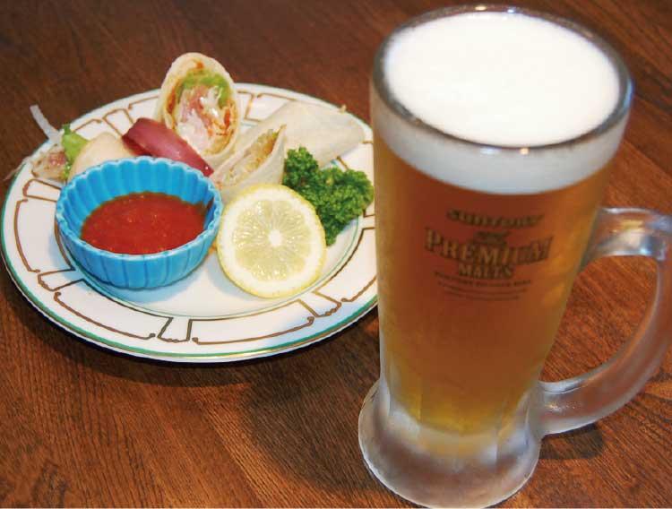 リストランテカフェ ラ・フェスタの生ビールとトルティーヤのセット