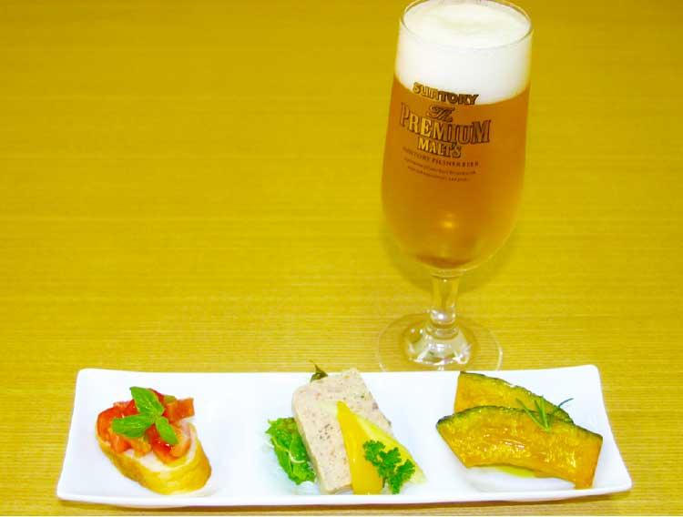 キッチンnosukeyaのビールとオードブル3種盛りセット