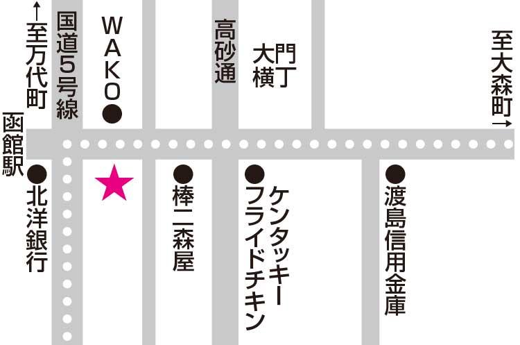 函館カフェにしむら周辺地図