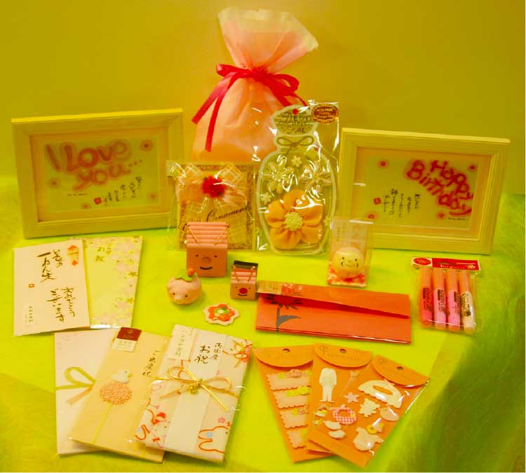 石田文具で売ってるピンク色のラッピンググッズ