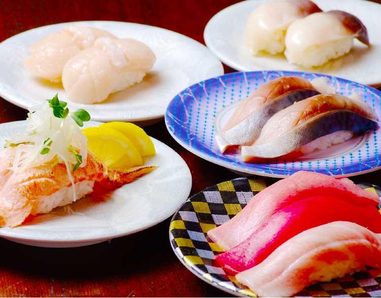 グルメ回転寿司函太郎の握り寿司