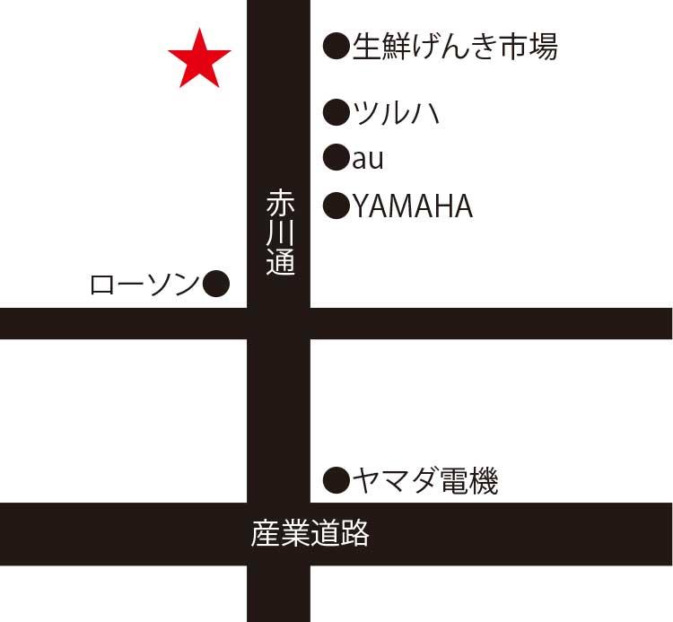 焼肉一徳美原店周辺地図