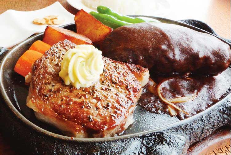 ハンバーグとステーキの店ケルンのハンバーグとロースカットステーキ