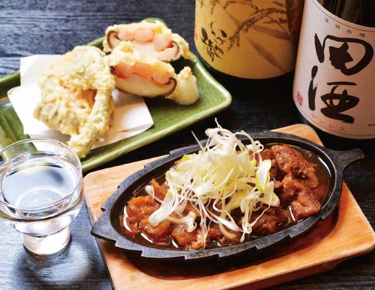 居酒屋かまだの辛口牛すじ煮込と肉厚シイタケエビ詰め天ぷら