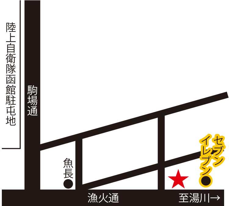 湯の川阿佐利伊藤精肉店周辺地図