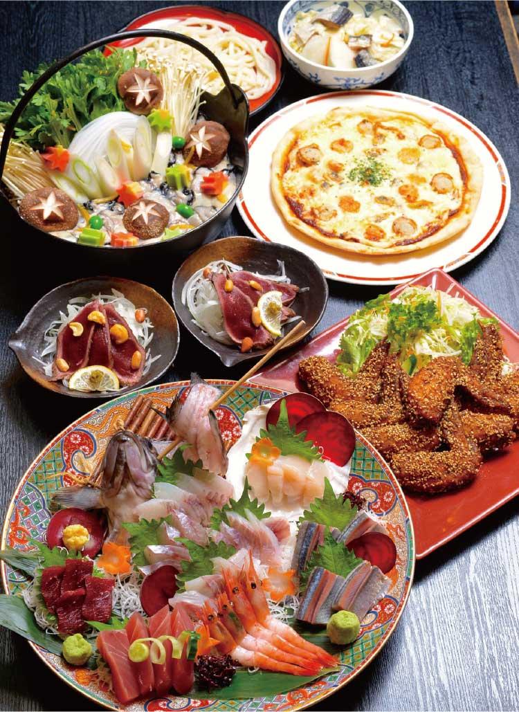 旬味鹿六のカキ鍋コース料理