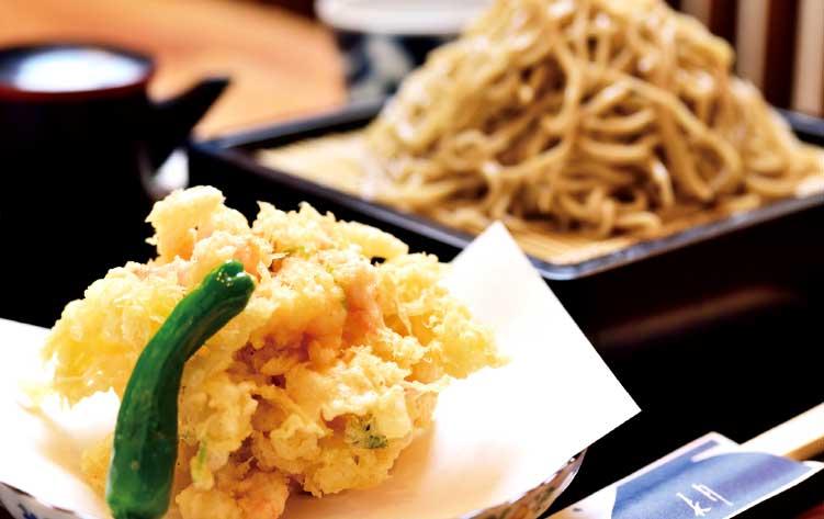 蕎麦酒房長月の甘海老のかき揚げ蕎麦