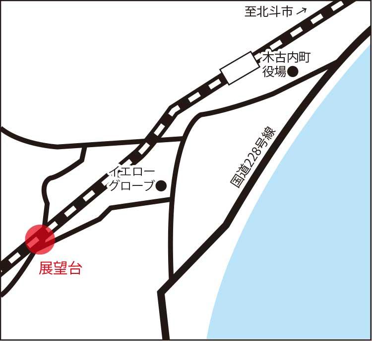 木古内町新幹線展望台周辺地図