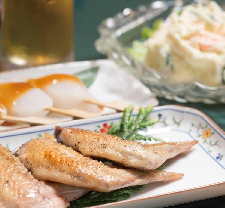 味処華心の手羽先とポテトサラダ