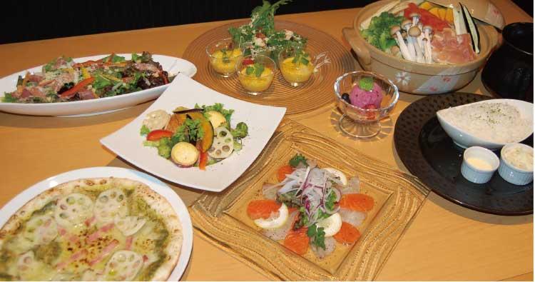 朝もぎ野菜ダイニング彩り家の4968円プラン料理