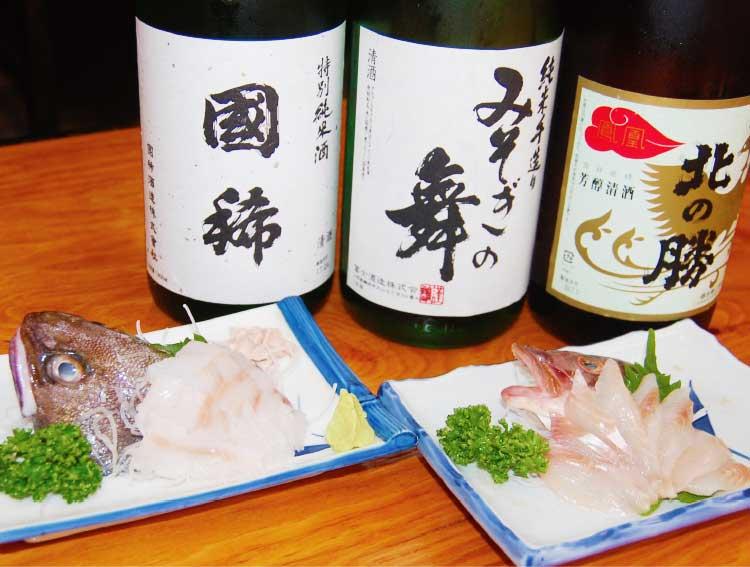 「大衆居酒屋・魚さんこ」のドンコ刺と真ボッケ刺