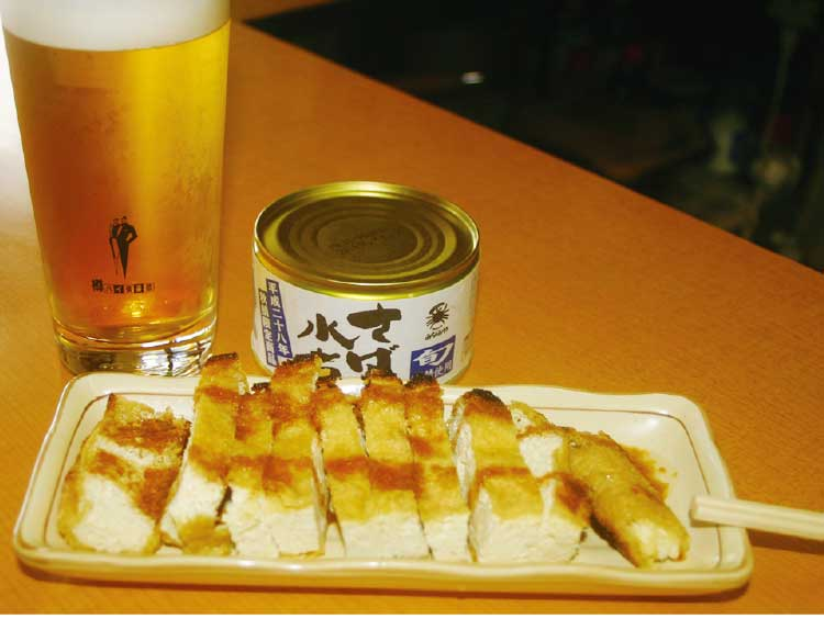 丸善・瀧澤商店のビールとあげ焼きと「さばの水煮の缶詰」
