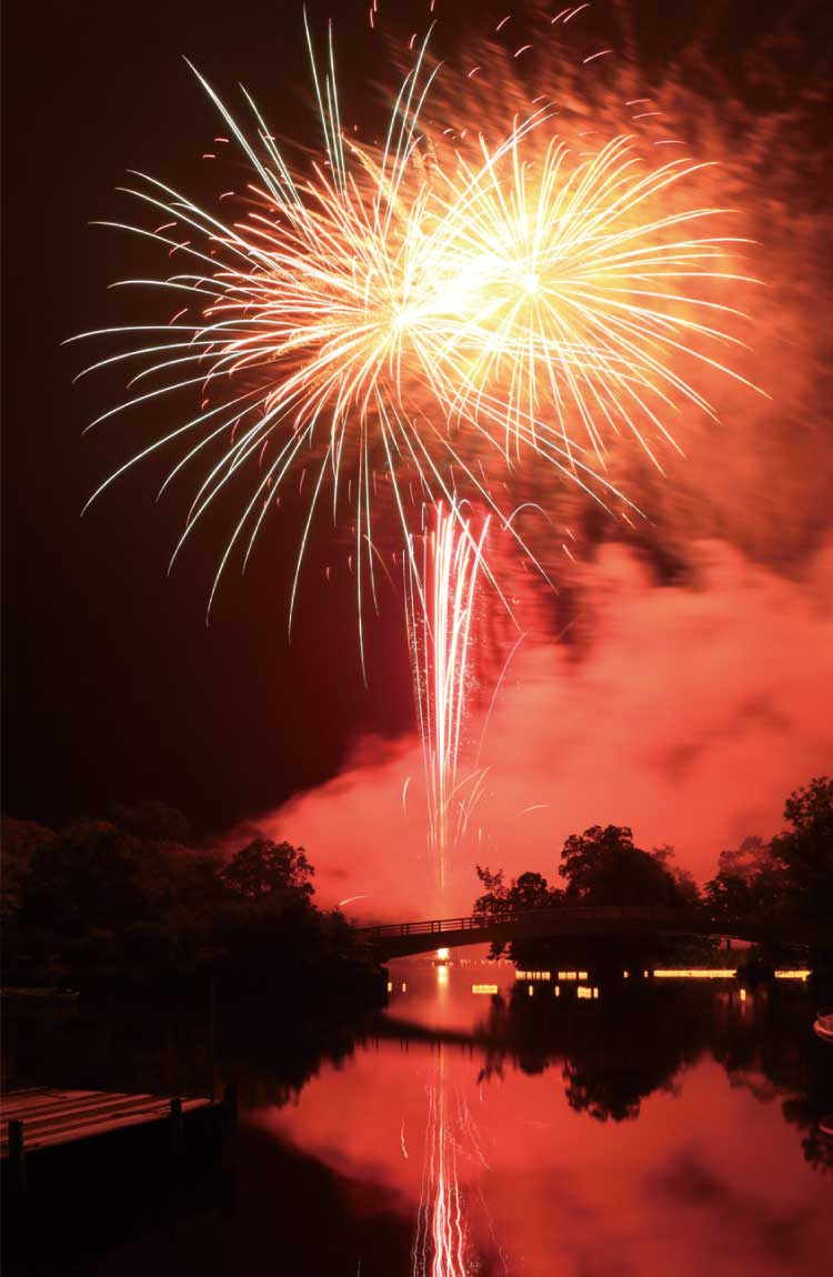 大沼国定公園の湖面に映える打ち上げ花火