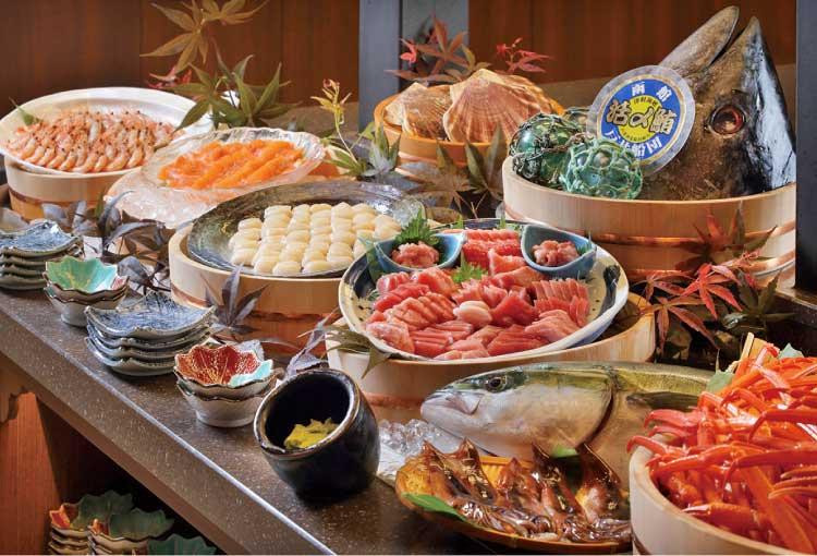 函館湯の川温泉ホテル万惣 夕食ビュッフェ