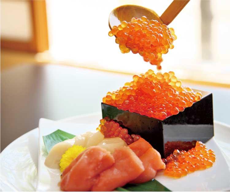 函館湯の川温泉 ホテル河畔亭 マスイクラが食べ放題の朝食